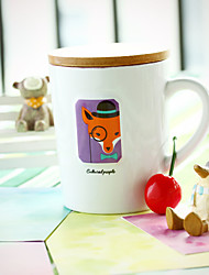 1PC 8.5*7.4*10.3cm Creative Gifts Simple Cartoon Ceramic Cup Of Milk For Breakfast, Mark Cup With Lid