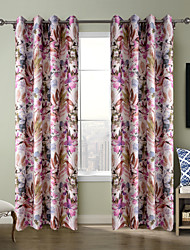 Chadmade Heat Tranfer Print Flower  Pattern - Nickle Grommet - Purple