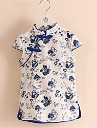 Retro Classic Chinese Kid Girl Floral Peacock Chinese Cheongsam Baby Dress/Qipao Clothes
