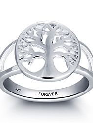 Fashion Customs Name Personalized 925 Sterling Silver Tree Ring For Women
