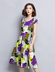 Women's Vintage Print Sheath Dress,Round Neck Knee-length Polyester
