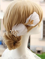 Fashion Hairpin Head Decoration For Bride Pearl And Feather Style Wedding Decoration Wedding Accessories