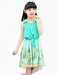 Girl's Blue / Pink / Yellow Dress,Floral Cotton Summer