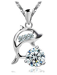 Cute Dolphin AAA Zircon Sterling Silver CZ Necklace Pendant Necklaces Daily / Casual 1pc