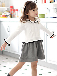 Girl's White Dress,Color Block Cotton Spring / Fall