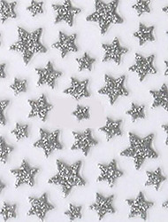 Lovely Silver Western Style Star 3D Nail Stickers