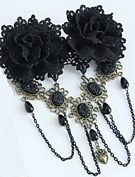 Lolita Jewelry Gothic Lolita Headwear Victorian Black Lolita Accessories Headpiece Lace For Women Lace / Artificial Gemstones