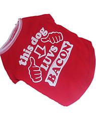 Cães Camiseta Vermelho Roupas para Cães Verão Carta e Número Fantasias