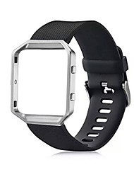 Classic Silicone Replacement Band with Metal Frame Case for Fitbit Blaze Small (5.5-6.7 in)