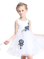 Girl's Cotton Summer Embroidery Mesh Gauze Top Grade Formal Dress Princess Dress