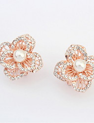 Top Sale Korean Fashion Women Sweet Pink Rose Flower Imitation Pearl White Rhinestone Stud Earrings