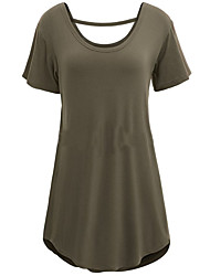 Women's Solid Blue / Wine Red / Black / Gray /Army Green/ Loose T-shirt,Round Neck Short Sleeve