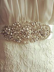 Satin Wedding / Party/ Evening Sash-Crystal / Imitation Pearl Women's 98 ½in(250cm) Crystal / Imitation Pearl