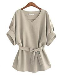 Damen Solide Übergröße / Street Schick Lässig/Alltäglich T-shirt,V-Ausschnitt Sommer Kurzarm Blau / Rot / Grau / Grün Polyester Mittel