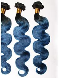 1b / blau # ombre Haar brasilianische Körperwelle 3 Bündel Klasse 7a reines Menschenhaar Webart Schuss