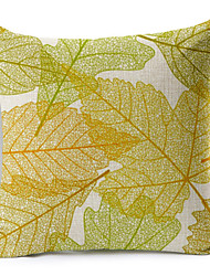 Leaf Pattern Linen Pillowcase Sofa Home Decor Cushion Cover (18*18inch)