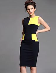 Baoyan® Women's Round Neck Sleeveless Above Knee Dress-120098