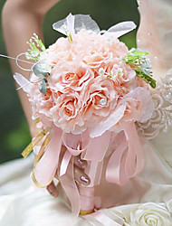 "Wedding Flowers Round Roses Bouquets Wedding / Party/ Evening Pink / Green / Champagne / Ivory Silk 5.12""(Approx.13cm)"