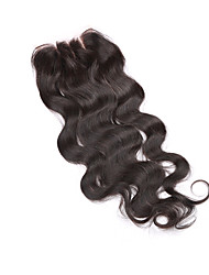 08inch-20inch Natural Black Full Lace / Hand Tied Body Wave Human Hair Closure Medium Brown Swiss Lace 20g-60g gram Cap Size
