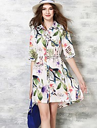 Women's Casual/Daily Cute A Line Dress,Print Shirt Collar Above Knee ½ Length Sleeve Multi-color Polyester Summer