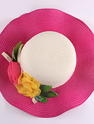 Women Straw Flowers Color Block Floppy Hat,Cute / Party / Casual Spring / Summer / Fall
