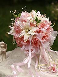 """Bouquets de Noiva Redondo Rosas Lírios Buquês Casamento Festa / noite Seda 9.45""""(Aprox.24cm)"""