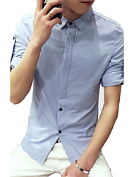 2016 new men's seven summer blouse Korean solid thin white cotton 7 slim sleeve shirt