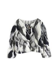 Women's Color Block White Coat,Simple Long Sleeve Nylon