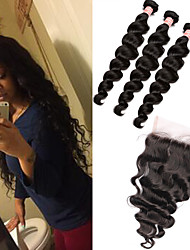 6A Peruvian Virgin Hair Weaves With Closure 5X5 Loose Wave Peruvian Hair Bundles With Closure