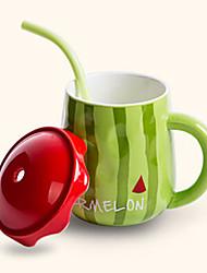 Creative Cute Watermelon Style Drinking Straw Ceramic Mug Cup