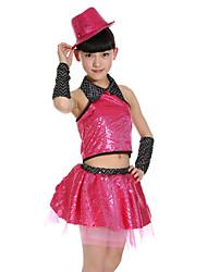 Girl's Polyester Summer Paillette Dot Hollow Out Dance Dress(No Cap)
