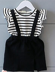 Girl's Casual/Daily Striped Dress,Cotton Summer Black
