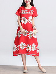 Women's Vintage / Simple Floral Loose Dress,Ethnic Print Round Neck Midi Cotton / Linen