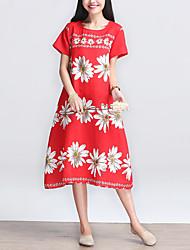 Mulheres Vestido Solto Vintage / Simples Floral Médio Decote Redondo Algodão / Linho
