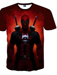 3D Deadpool Male As Picture Cosplay Costumes Printing T-shirt(S M L XL XXL)