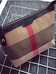 Women Canvas Casual Cosmetic Bag-Brown 21cm*13cm