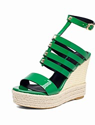 Women's Shoes Cowhide / Patent Leather Wedge Heel Wedges / Slingback / Comfort / Open Toe Sandals