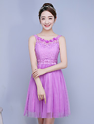 Knee-length Lace / Satin / Tulle Bridesmaid Dress-Ruby / Lilac / Lavender / Sage / White  A-line Straps