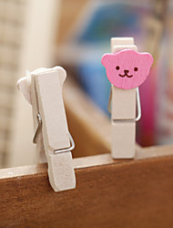 1PC Cute Heart Bear Memo Clips/Cute Wooden Photos Wood Photo Holder Small Clip(Style random)