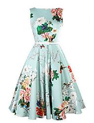 Women's Party Vintage A Line Dress,Floral Round Neck Midi Sleeveless Blue Cotton Summer