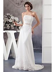 Sheath / Column Wedding Dress Court Train Strapless Organza / Satin with Appliques / Beading / Sash / Ribbon