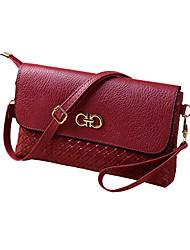 New Women PU Crossbody Bag Weave Snap Button Zipper Casual Vintage Shoulder Clutch Bags