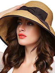 Для женщин Винтаж Для вечеринки Для офиса На каждый день Котелок / клош Соломенная шляпа,Весна Лето Осень Все сезоны Солома