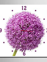 Carré Moderne/Contemporain Horloge murale,Fleurs / Botaniques Toile40 x 40cm(16inchx16inch)x1pcs/ 50 x 50cm(20inchx20inch)x1pcs/ 60 x