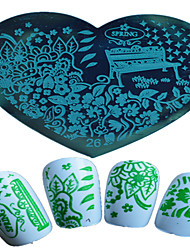 1pcs Nail Art Heart-shaped Stamping Template Colorful Flower Elegant Scenery Image Design Nail Art Tools 26-28