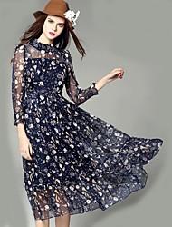 klimeda Frauen Straße chic drucken Schaukel Kleid, Pullover mit Stehkragen midi Polyester