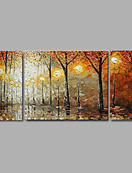 cenário de espessura outono decoração do escritório domiciliário pintura a óleo pintado à mão, com quadro esticado - conjunto de 3