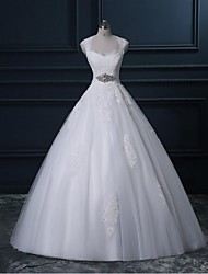 A-line Wedding Dress Sweep / Brush Train Queen Anne Lace / Tulle with Crystal Floral Pin / Lace / Sequin / Appliques / Beading