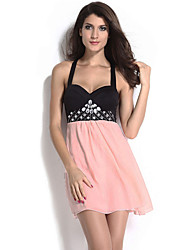 Women's Party/Cocktail Sexy A Line Dress,Color Block Strap Above Knee Sleeveless Pink Polyester All Seasons