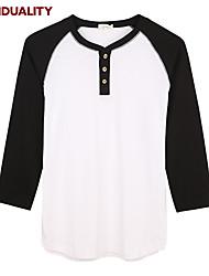 Trenduality® Hommes Col Arrondi Manches 3/4 T-shirt Blanc / Gris / Noir et blanc-63016